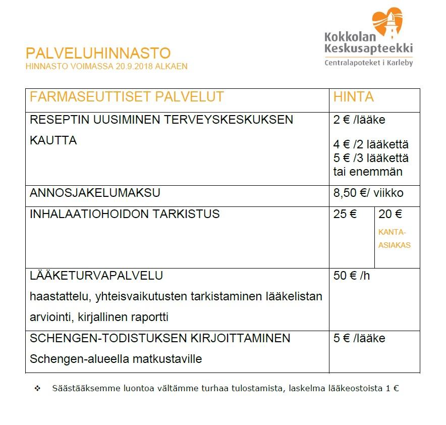 PALVELUHINNASTO farmaseuttinen22 2018